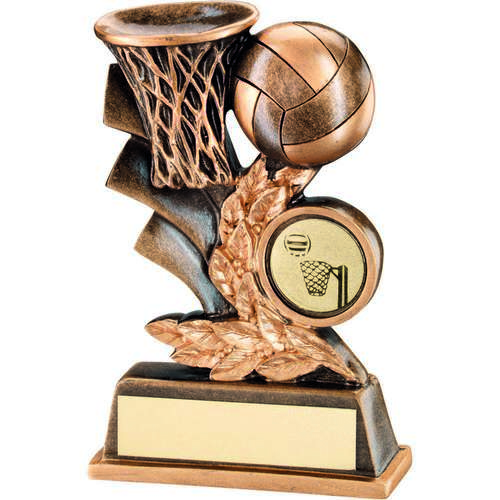 BRZ/GOLD NETBALL LEAF PLAQUE TROPHY - (1in CENTRE) 5in