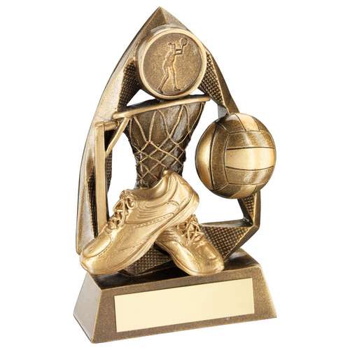 BRZ/GOLD NETBALL DIAMOND COLLECTION TROPHY (1in CENTRE) - 6.5in