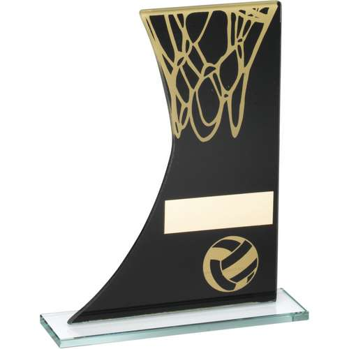 BLACK/GOLD PRINTED GLASS PLAQUE WITH NETBALL AND NET TROPHY - 6.