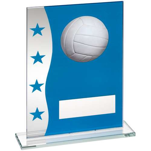 BLUE/SILVER PRINTED GLASS PLAQUE WITH NETBALL IMAGE TROPHY - 8in