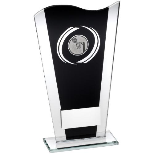 BLACK/SILVER PRINTED GLASS PLAQUE WITH NETBALL INSERT TROPHY - 7