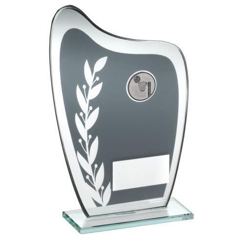 GREY/SILVER GLASS PLAQUE WITH NETBALL INSERT TROPHY - 7.25in