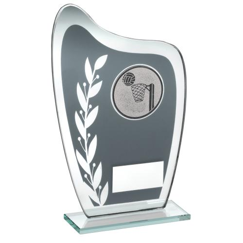 GREY/SILVER GLASS PLAQUE WITH NETBALL INSERT TROPHY - 6.5in