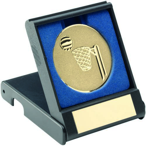 BLACK PLASTIC BOX WITH NETBALL INSERT - GOLD 3.5in
