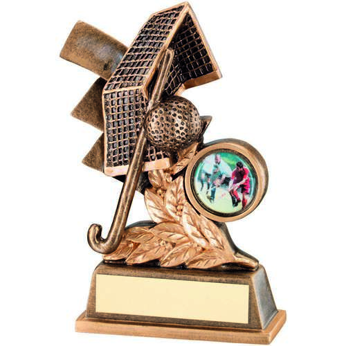 HOCKEY GOLD LEAF PLAQUE TROPHY - 4.25in