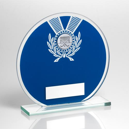 JADE GLASS ROUND PLAQUE BLUE/SILVER WITH HOCKEY INSERT TROPHY -