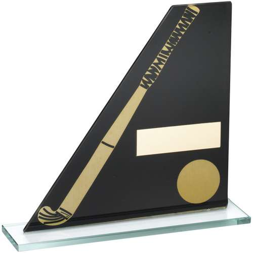 BLACK/GOLD PRINTED GLASS PLAQUE WITH HOCKEY STICK/BALL TROPHY -