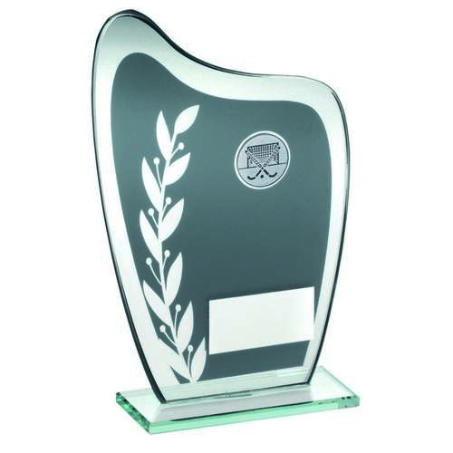 GREY/SILVER GLASS PLAQUE WITH HOCKEY INSERT TROPHY - 7.25in