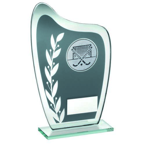 GREY/SILVER GLASS PLAQUE WITH HOCKEY INSERT TROPHY - 6.5in