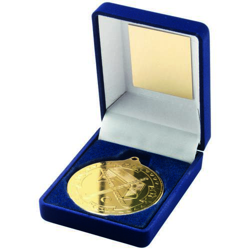 BLUE VELVET BOX + MEDAL HOCKEY TROPHY - GOLD 3.5in