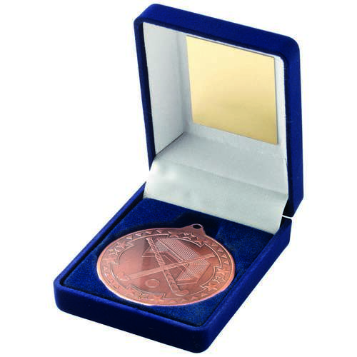 BLUE VELVET BOX + MEDAL HOCKEY TROPHY - BRONZE 3.5in