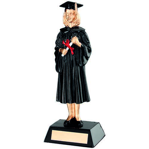 BLK/GOLD RESIN FEMALE GRADUATE TROPHY - 9.25in