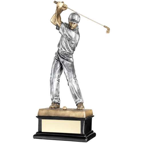BRZ/PEW 'BACK SWING' GOLFER ON BLACK BASE TROPHY - 14in