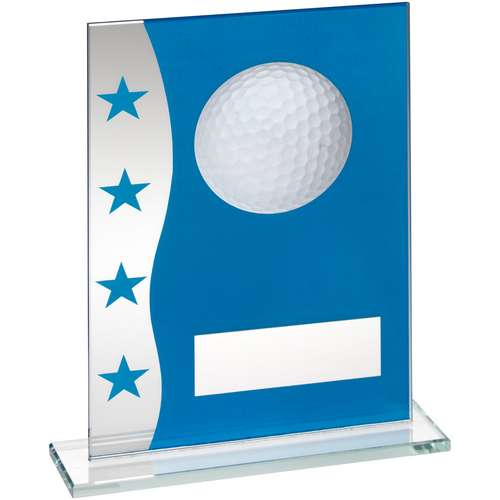 BLUE/SILVER PRINTED GLASS PLAQUE WITH GOLF BALL IMAGE TROPHY - 7