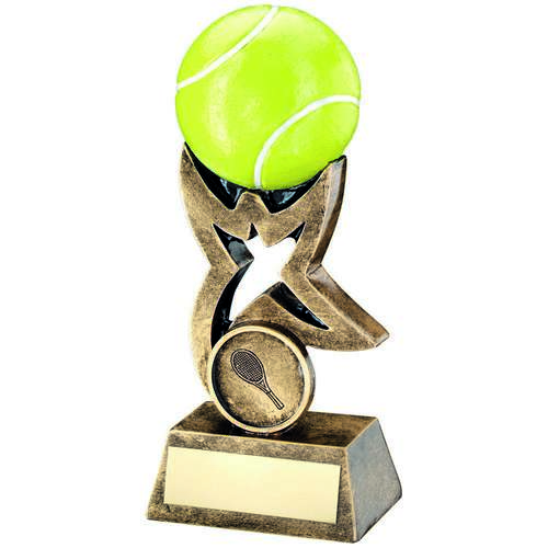 BRZ/GOLD/YELLOW TENNIS BALL ON STAR RISER TROPHY - 10cm