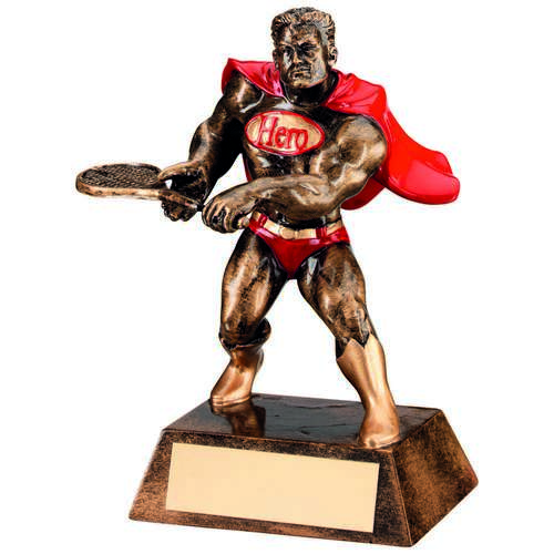 BRZ/GOLD/RED RESIN TENNIS 'HERO' TROPHY - 6in