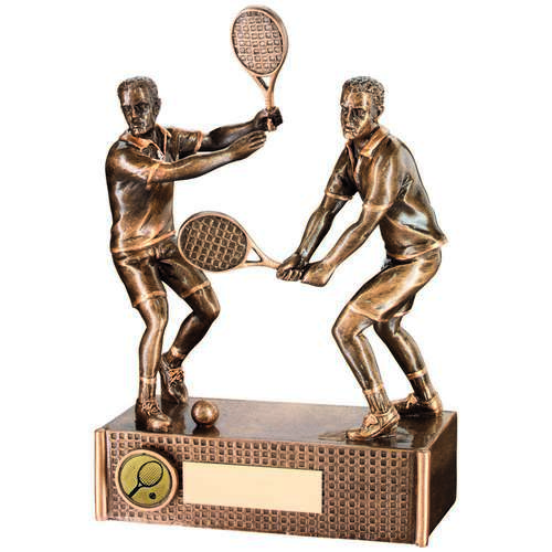 BRZ/GOLD TENNIS MALE DOUBLES TROPHY - (1in CENTRE) 6.75in