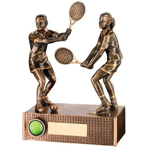 BRZ/GOLD TENNIS FEMALE DOUBLES TROPHY - (1in CENTRE) 6.75in