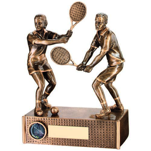 BRZ/GOLD TENNIS MIXED DOUBLES TROPHY - (1in CENTRE) 9in