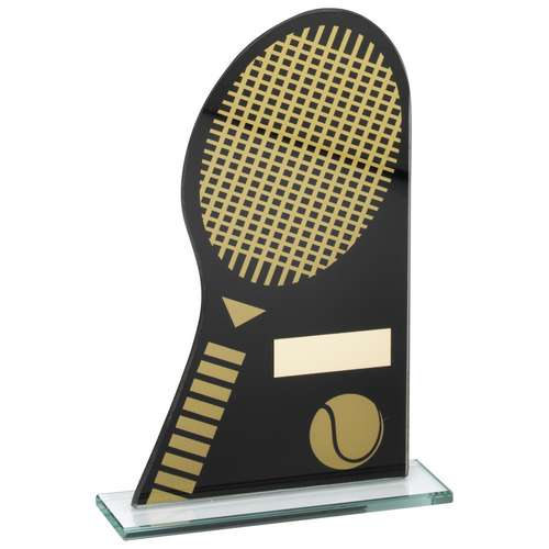 BLACK/GOLD PRINTED GLASS PLAQUE WITH TENNIS RACKET/BALL TROPHY -