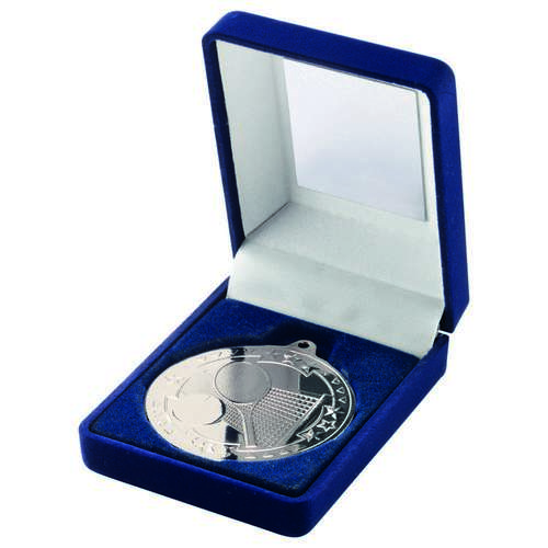 BLUE VELVET BOX+MEDAL TENNIS TROPHY - SILVER 3.5in