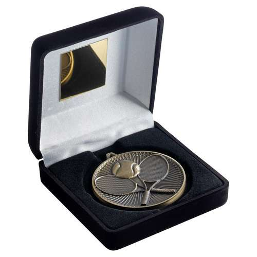 BLACK VELVET BOX AND 60mm MEDAL TENNIS TROPHY - ANTIQUE GOLD - 4