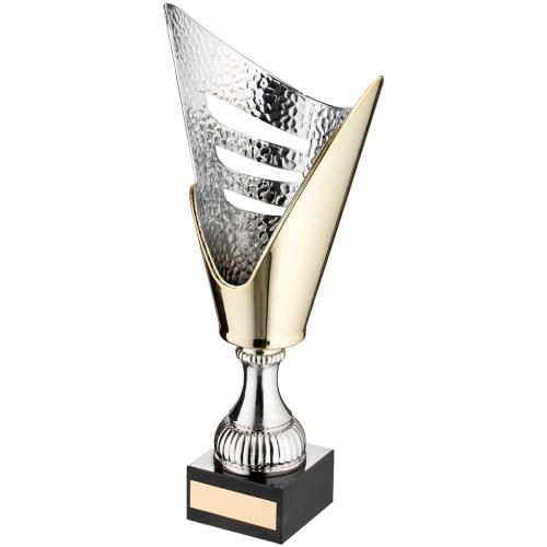 GOLD/SILVER V SHAPED PLASTIC TROPHY - 11.75in