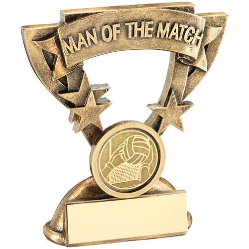 BRZ/GOLD MAN OF THE MATCH MINI CUP WITH GAELIC FOOTBALL INSERT T