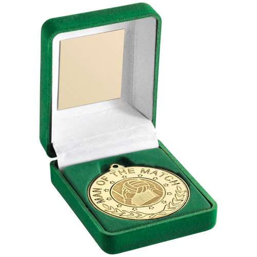 GREEN VELVET BOX AND 50mm MEDAL WITH GAELIC FOOTBALL INSERT 'M.O