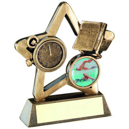 BRZ/GOLD SWIMMING MINI STAR TROPHY - 3.75in