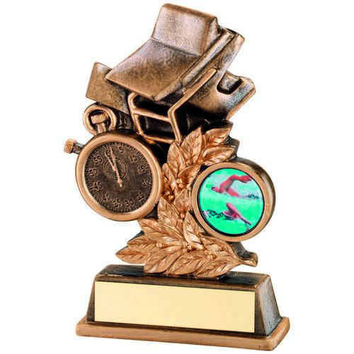 BRZ/GOLD SWIMMING LEAF PLAQUE TROPHY - 4in