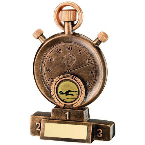 BRZ/GOLD SWIMMING STOPWATCH ON PODIUM TROPHY - 7in