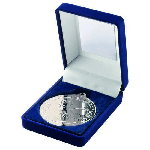 BLUE VELVET BOX+MEDAL SWIMMING TROPHY - SILVER 3.5in
