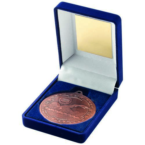 BLUE VELVET BOX+MEDAL SWIMMING TROPHY - BRONZE 3.5in