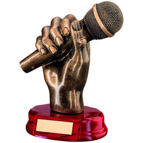 BRZ/GOLD RESIN MICROPHONE IN HAND TROPHY - 7in