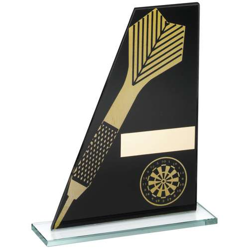 BLACK/GOLD PRINTED GLASS PLAQUE WITH DART/DARTBOARD TROPHY - 8in