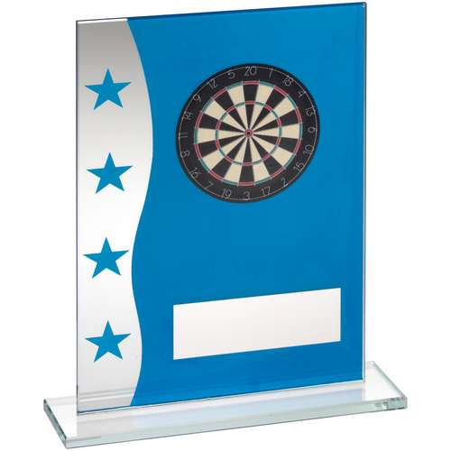 BLUE/SILVER PRINTED GLASS PLAQUE WITH DARTBOARD IMAGE TROPHY - 7