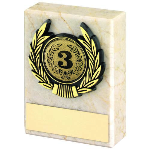 CREAM MARBLE+GOLD TRIM TROPHY - 3in