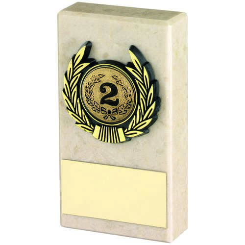 CREAM MARBLE+GOLD TRIM TROPHY - 4in