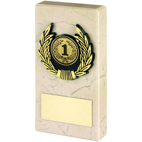 CREAM MARBLE+GOLD TRIM TROPHY - 5in
