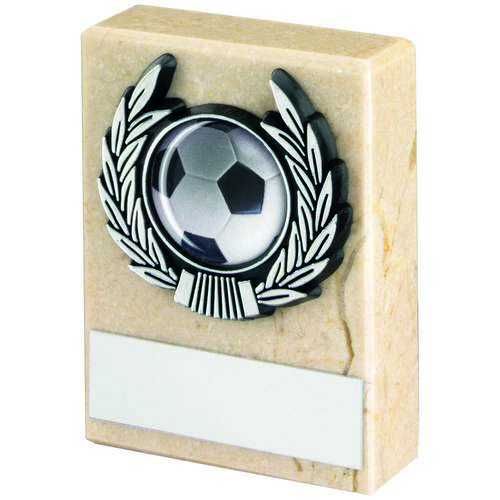 CREAM MARBLE+SILVER TRIM TROPHY - 3in