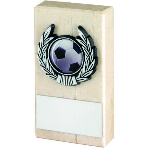 CREAM MARBLE+SILVER TRIM TROPHY - 4in