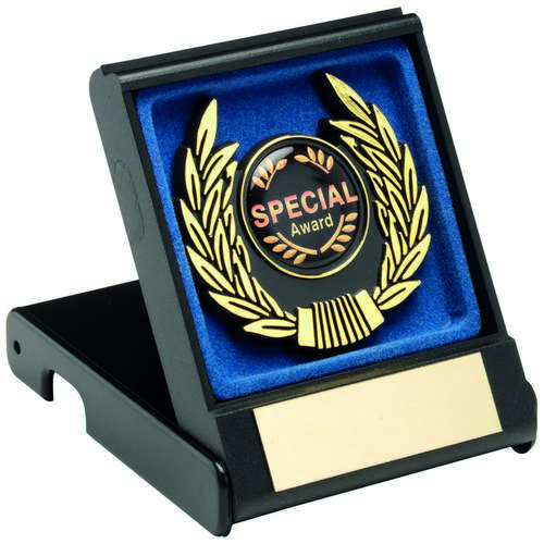 BLACK/BLUE PLASTIC BOX+GOLD TRIM TROPHY - 3.5in