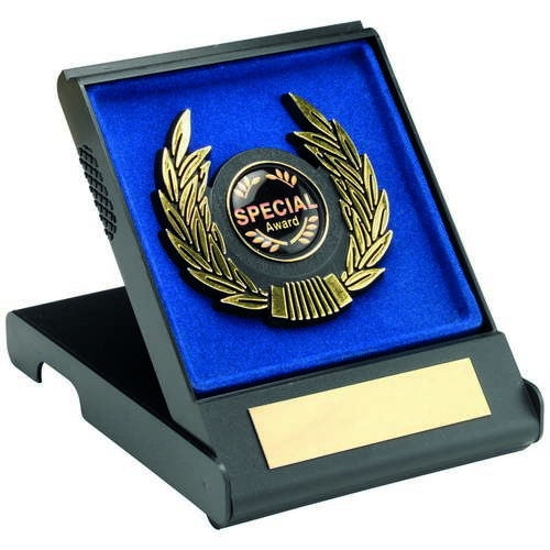 BLACK/BLUE PLASTIC BOX+GOLD TRIM TROPHY - 4in