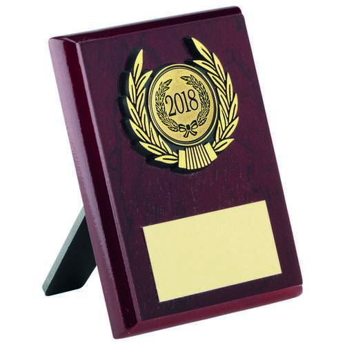 ROSEWOOD PLAQUE+GOLD TRIM TROPHY - 4in