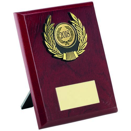ROSEWOOD PLAQUE+GOLD TRIM TROPHY - 5in
