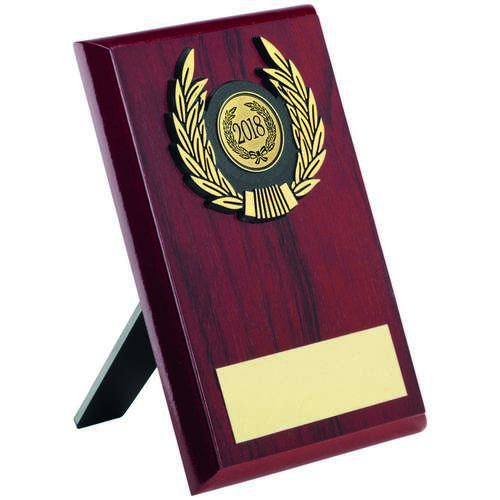 ROSEWOOD PLAQUE+GOLD TRIM TROPHY - 6in