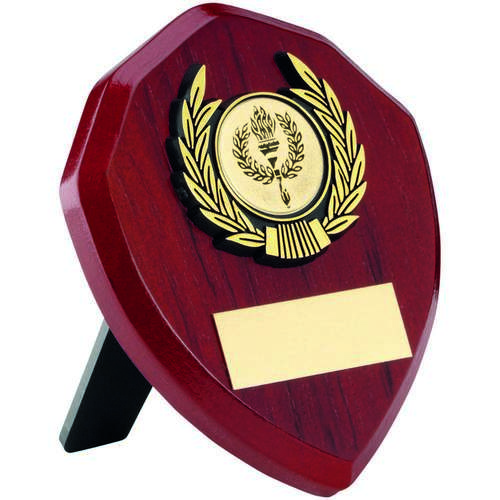 ROSEWOOD SHIELD+GOLD TRIM TROPHY - 4in