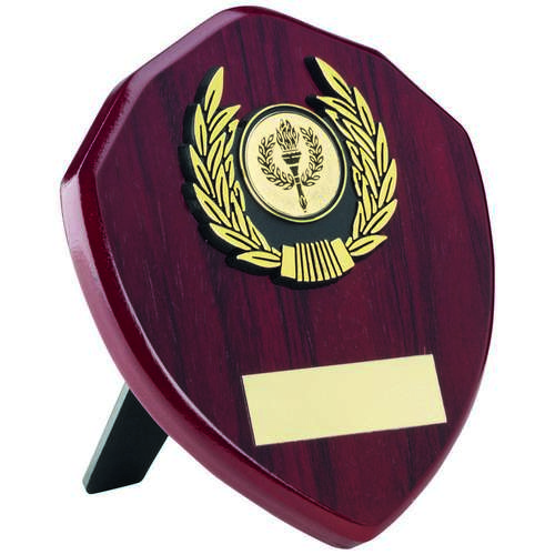 ROSEWOOD SHIELD+GOLD TRIM TROPHY - 5in