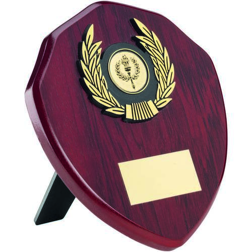 ROSEWOOD SHIELD+GOLD TRIM TROPHY - 6in